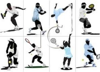 Mobile a colorful cartoon tennis players in different postions