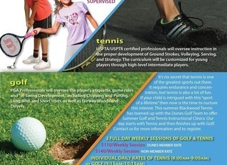 Mobile 2020 dunes summer golf tennis camp flyer